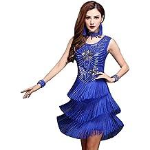 NiSeng Mujer lentejuela funcionamiento de la danza latina ropa vestidos baile latino salsa