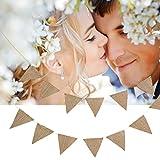 Jeteven 48 Pcs Guirlande Bannière en Jute Banderole Vintage Décoration pour Mariage Anniversaire Noël (10m)