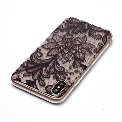 Custodia per iPhoneX(5,8pouces) ,JIENI Trasparente Protezione Morbido Fiori di pizzo TPU Bumper Cover Silicone Flessibile Case per iPhoneX(5,8pouces) BF21
