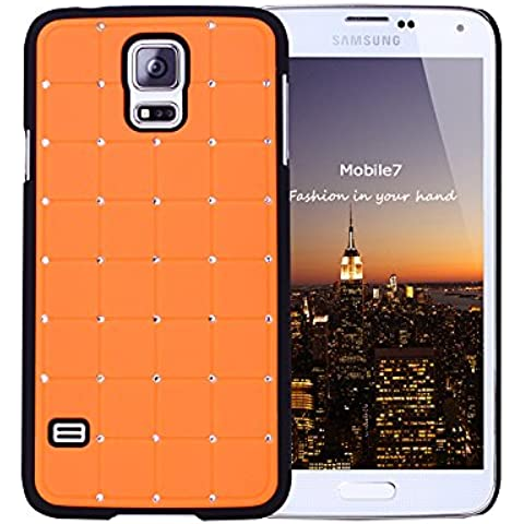 Caja del diamante del Valor Razonable Samsung Glaxay S4 Mini Lujo Crystal Cruz naranja Bling tapa dura con marco negro para el mini Samsung Glaxay S4