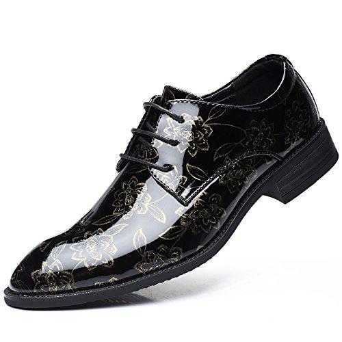 GBRALX Große Größe Herren Derby Schnürschuhe Spitz Formale Business Oxford Hochzeit Schuhe Klassische Casual Party Kleid Uniform Schuhe,Gold-EU44/UK8.5 -