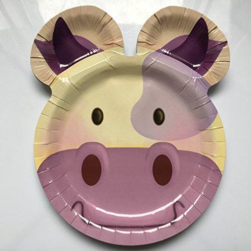 UH * für Kindergeburtstag oder Mottoparty // Plates Pappteller Partyteller Cow Bauernhof Farm ()