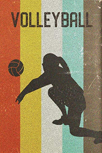 Womens Volleyball Journal: Cool Female Volleyball Player Silhouette Image Retro 70s 80s Vintage Theme 108-page Journal/Notebook/Training Log To Write In For Players Coaches Trainers Students