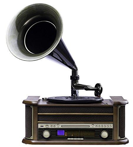 Nostalgie Retro Plattenspieler   Grammophon   Stereoanlage   Musikanlage   Kompaktanlage   Radio   CD PLAYER   USB   FERNBEDIENUNG   Hornlautsprecher   MP3-Encoding: Aufnahme von Schallplatte im MP3-F