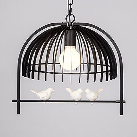 Brinny Lustre en Fer Forgé Vintage Pendentif Creux en Cage d'oiseaux Suspension de Plafonnier pour Bar
