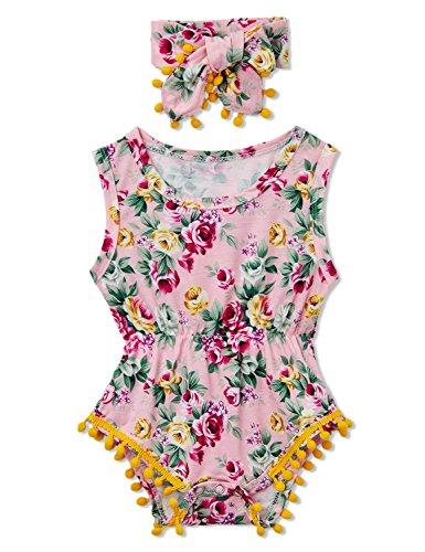 chicolife neugeborenes Baby Bodys Mädchenbekleidung Rosa Sommer Blume Gedruckten Rüsche Strampler mit Bowknot Stirnband