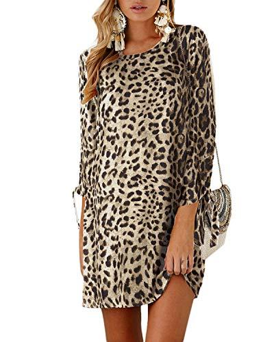 YOINS - Vestido de Mujer para Invierno, Cuello Redondo, Vestido de Novia, Manga Larga, Minivestido, Camiseta Larga, túnica Suelta con Lazo Leopardo Caqui. S