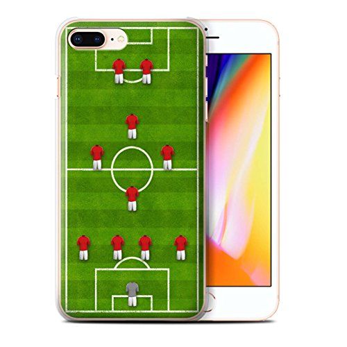 Stuff4 Hülle / Case für Apple iPhone 8 Plus / 4-1-2-1-2/Weiß Muster / Fußball Bildung Kollektion 4-1-2-1-2/Rot