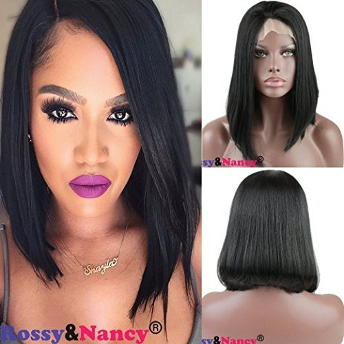 Rossy&Nancy Synthetic Hair Lace Front Bob Wigs Natural Black 10inch by Rossy&Nancy