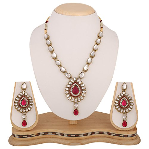 Dancing Girl Bridal Wedding Rani Pink Metal Alloy Jewellery Set With Necklace...