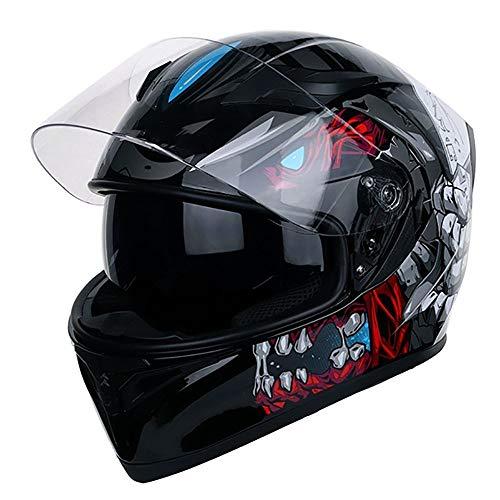 Chitty Schwarz Weiß ABS Industrie Kunststoff Offroad Mountain Vollgesichts Motorradhelm Klassisches Fahrrad MTB DH Rennhelm Motorrad Offroad Down Mountainbike Helm sicher (Size : XXL)