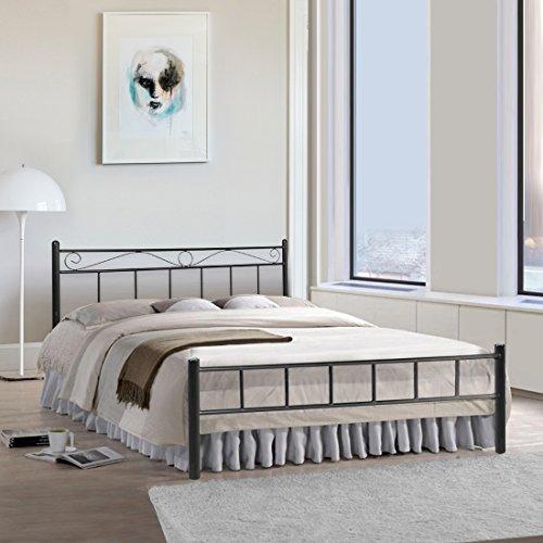 FurnitureKraft London Double Size Metal Bed (Mild Steel - Black)