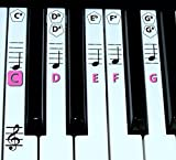 finefun Piano Clavier Clé et Note de musique autocollants en Piano d\'apprentissage Label (Noir) rose