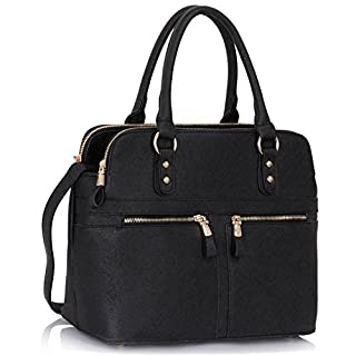 LeahWard Women's Tote Bags Celeb Style Nice Handbags 3 Compartments Large Bag 250 (Black)