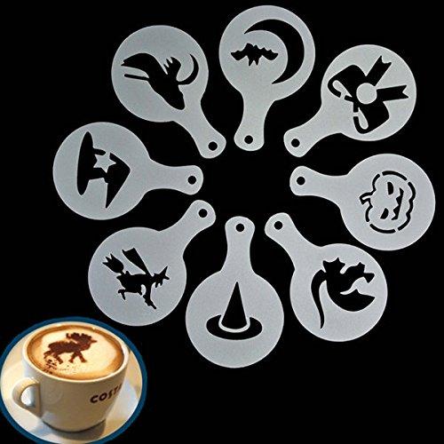 Calli 8pcs Halloween Cappuccino Latte Art Kaffee Schablonen Duster Kuchen Zuckerglasur Spray (Halloween Kaffee Schablonen)