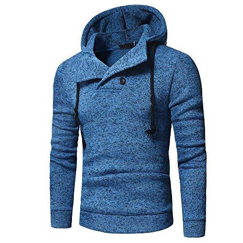 ESAILQ Herren Langarm Herbst und Winter Button Cap Casual Anzüge Sweatshirt Bluse Top(X-Large,Blau)
