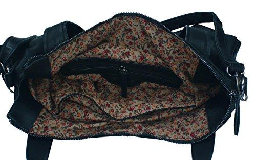 Betz. Borsa da donna borsa borsa per donne MADRID 2 borsa con chiusura a zip, tracolla e due manici Nero
