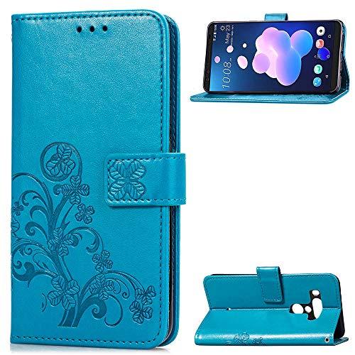 HTC U12 Plus Cover PU Leather Wallet Case Flip Kickstand Function Ultra Folio Flip Slim Card Holder Case Cover Defender Cover Case for HTC U12 Plus (Blue) Htc Touch Defender Case