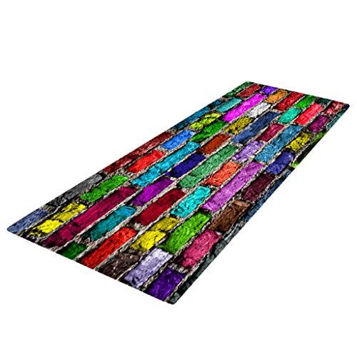Fenteer Schmutzfangmatte Schmutzmatte Fußmatte Schmutzfangläufer Anti-Rutsch Teppichläufer - Bunte Backsteinmauer