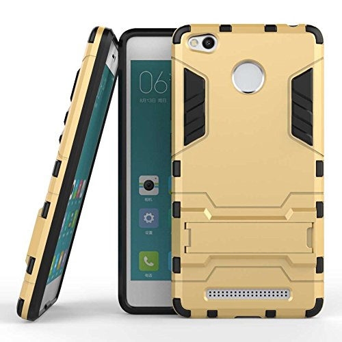 CASSIEY Back Cover Case for Xiaomi Redmi 3s Prime [Military Grade Version 3.0 With Kick Stand Hybrid Back Cover Case] - Gold