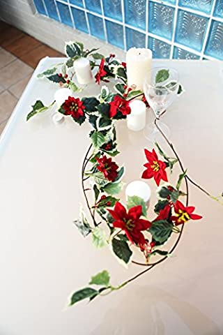 Artificial Flower Mini Poinsettia Holly Garland and