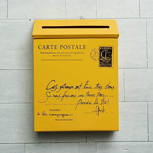 RanDal Rétro Métal Verrouillable Poste Mail Boîte Maison Balcon Jardin Lettre Rangement Boîte Aux Lettres Mur Monté - Jaune