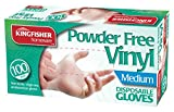 Marksman Powder Free Vinyl Disposable Gloves, Medium - Pack of 100 x