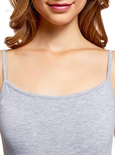 oodji Ultra Femme Top à Bretelles Fines sans Étiquette (Lot DE 3) Gris (2000M)