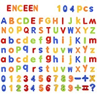 ENCEEN Alphabet Magnets104Pcs Magnetic Letters & Numbers Children ABC Learning Toys For Preschool Spelling Counting