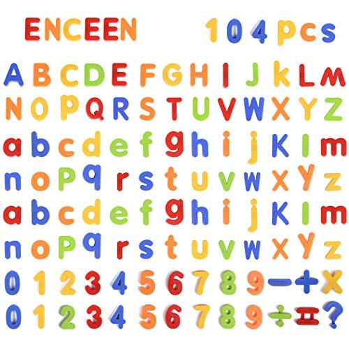 ENCEEN Alphabet Magnete 104 Stücke Magnetische Buchstaben & Zahlen Kinder ABC Lernen Spielzeug Für Vorschule (Buchstaben Alphabet Magnet)