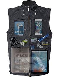 AyeGear V26 chaleco de viaje de bolsillo con bolsillos dobles para la tableta iPad, ropa Carry oculta, resistente al agua, sin abultamiento, chaleco de la luz