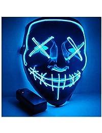 Kaliwa Masque LED Halloween Purge Masques élection en Lumière LED Masque pour Halloween Festival Cosplay Costume Décorations de Fête, Alimenté par Batterie