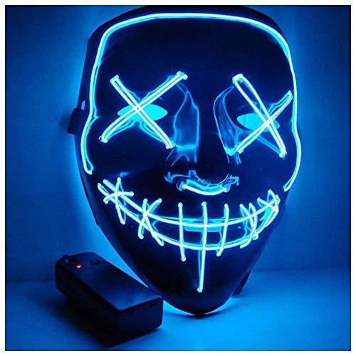 Yilyln LED Purge Maske mit 3 Blitzmodi für Halloween Fasching Karneval Party Kostüm Cosplay Dekoration (Blau) (Der Halloween Purge-maske)