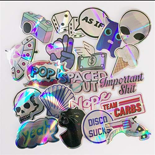 20 teile/satz von kühlen laser stern aufkleber motorrad notebook zugstange box skateboard farbe schädel farbe aufkleber aufkleber