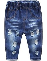 3b3f24ea86 NiSeng Mädchen & Jungen Zerrissen Jeans Hose Kinder Elastische Taille  Cowboy Hose Denim Hose