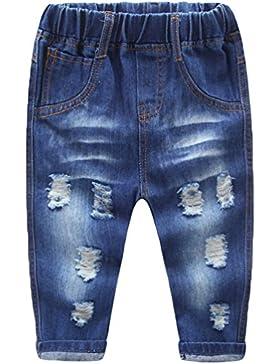 NiSeng Niño Vaquero Pantalon Casual Cintura Elástica Jeans Pantalones Denim Rotos Pantalones