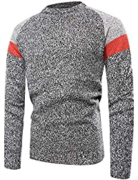 BUSIM Men's Long Sleeved Sweater Top Casual Color Matching Round Neck Pullover Autumn Winter Q-Neck Patchwork...