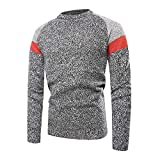 UJUNAOR Männer Sweatshirt Pullover Lässig Patchwork Langärm Rundhals Warme Top Bluse Frühling Herbst(Hellgrau,EU XL/CN 2XL)