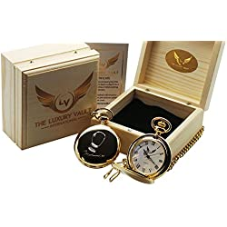 Muhammad Ali Signed Gold Pocket Watch Luxury with Autograph 24 Carat Plated in Wooden Gift Case for Boxing Fans