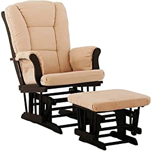 Storkcraft Tuscany Glider and Ottoman, Black and Beige
