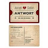 30 x Antwortkarte Hochzeit Hochzeitskarten Antwort Postkarte - Vintage Herz Rot