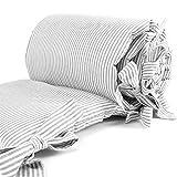 Sugarapple Baby Nestchen Bettumrandung dick gepolstert für Beistellbetten, Kopfschutz und Kantenschutz für babybeistellbetten, Bettnestchen Maße: 150 x 25 cm, Streifen grau
