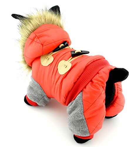 ranphy gefüttert Horn Button Hund Katze Fleece Winter Fell Hoodie Jumpsuit Kostüm Hund snowsuits Wasserdicht (Run Kleine, Bitte den nächsten bis Größe auf der (Beste Mops Der Kostüme)