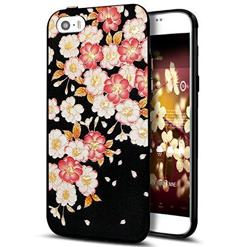 Cover iPhone 5S,Cover iPhone 5,Cover iPhone SE,Custodia iPhone 5S 5 SE Cover,ikasus® Cover custodia iPhone SE 5S 5 disegno colorato TPU con 3d arte pittura floreale fiore fiori ciliegio girasole model Fiore #8