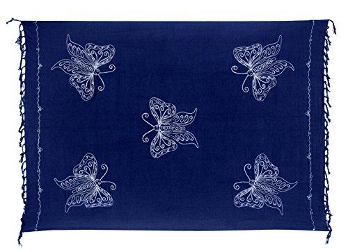 Sarong Handbestickt inkl. Sarongschnalle im Raute Design - Viele Größen und exotische Farben und Muster zur Auswahl - Pareo Dhoti Lunghi Blau