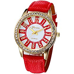 WINWINTOM Women Stainless Steel Analog Leather Quartz Wrist Watch Red