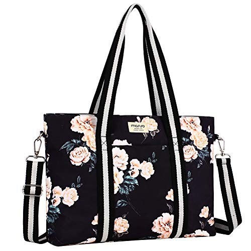 MOSISO Laptop Tote Bag (bis zu 17,3 Zoll), Canvas Rose Multifunktions Arbeit Reise Einkaufen Duffel Laptoptasche mit Griff Kompatibel Notebook, MacBook, Ultrabook Computer, Schwarz Basis Pfingstrose
