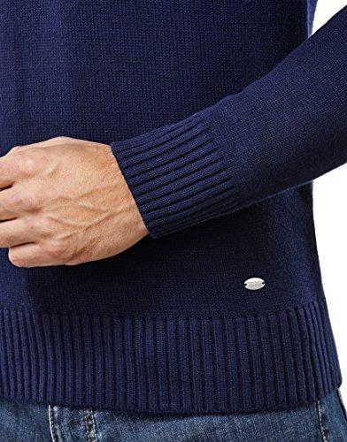 Vincenzo Boretti Herren-Pullover Schalkragen slim-fit tailliert Strick-Pullover einfarbig Baumwolle-Mix edel elegant warm dick Grob-Strick für Business oder Casual Dunkelblau