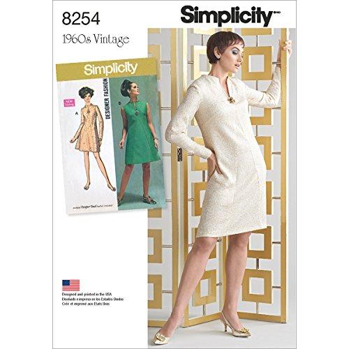 Simplicity 8254AA 1960S Vintage Robe pour Miss et Plus Tailles Patron de Couture, Blanc, Tailles 10-12-14-16-18