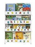 Tidy Books  Estanteria infantil | Librería de pared para niños con abecedario 3D de colores | Madera | Blanca | 115 x 77 x 7 cm | ECO Friendly | Hecho a mano | La original desde 2004